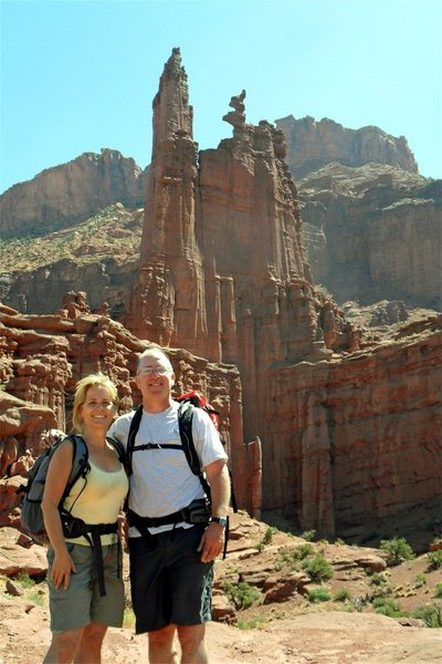 On the hike back after summiting Ancient Art.  Love the corkscrew summit in the background.