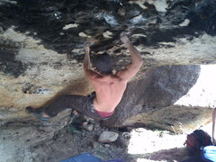 Rock Climbing Photo: nate brun v8/9 first go!!!