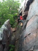 Rock Climbing Photo: Soloing easy overhang on my 35th b-day challenge