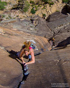 Rock Climbing Photo: Leah Sandvoss sending P3 (11d) on Rainbow Wall (Or...