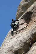 Rock Climbing Photo: Justing moving out of the scoop on the final moves...