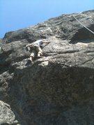 Rock Climbing Photo: Monica pulls up Oh Me.