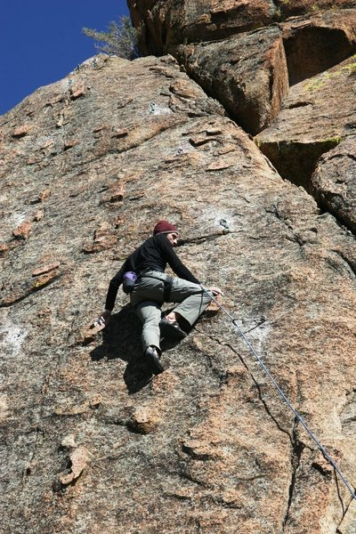 Justin starting the crux sequence on the first ascent of Domestic Bliss, 5.9+.