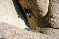 Rock Climbing Photo: With the good flake at hand the end of the crux is...