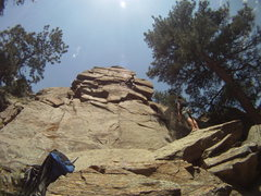 Rock Climbing Photo: Passing the 2nd pin, heading to the 2nd bolt, good...