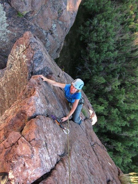 Rock Climbing Photo: Leann enjoying the pinnacle on a fine July evening...