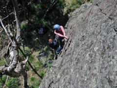 Rock Climbing Photo: Angela starting Bindlestiff
