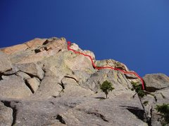 Rock Climbing Photo: View of the top. I did it in 2 pitches to limit ro...