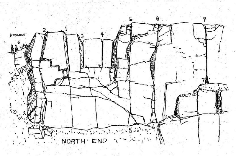 Sam Streibert's drawing of the left end of the Main Cliff