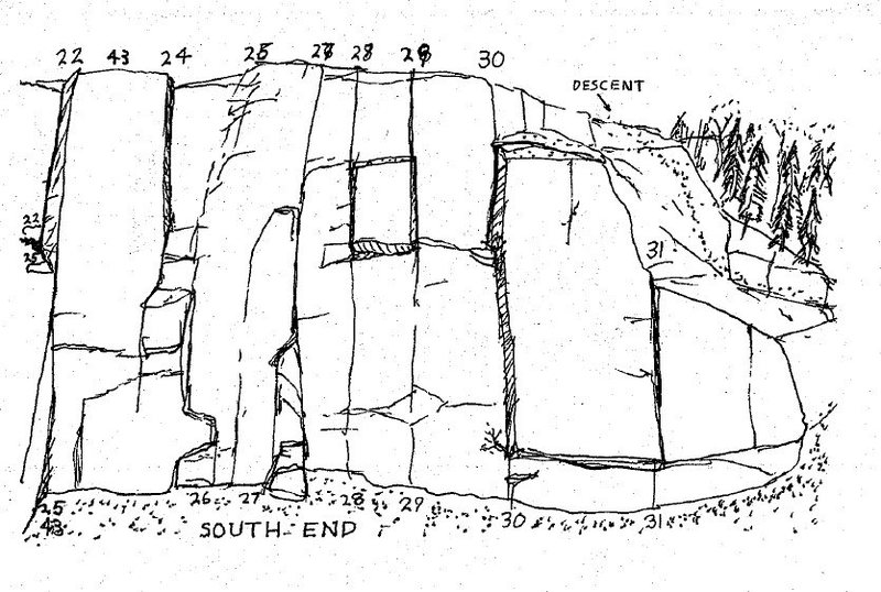Sam Streibert's drawing of the Main Cliff - right side