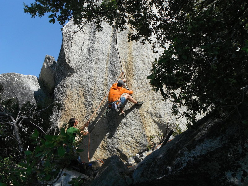 Richard Shore pulling hard on the low crux (v4?) of Vicious 5.11+