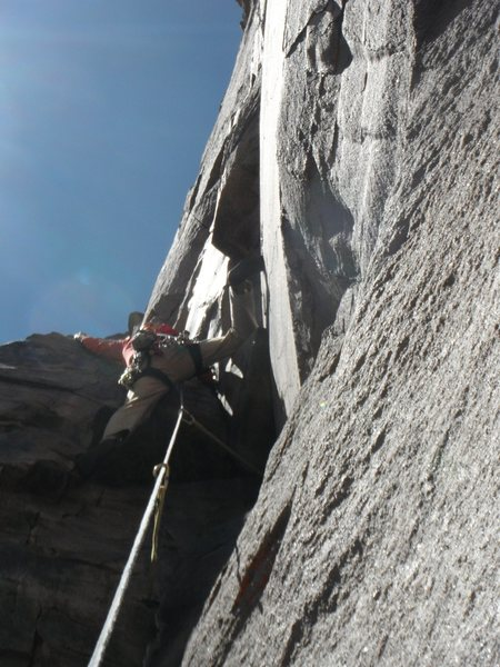 Rock Climbing Photo: Stemmed out pulling through the roof section
