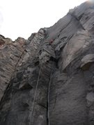 Rock Climbing Photo: The three bolts were all drilled on lead