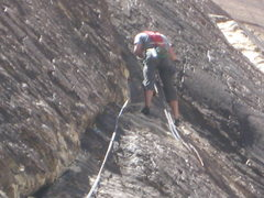 Rock Climbing Photo: Nelson leading (well....belaying me) on Dream of W...