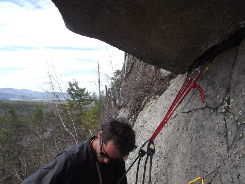 Rock Climbing Photo: Jon at the first pitch anchor