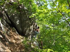 Rock Climbing Photo: Jon on Crescent Roof