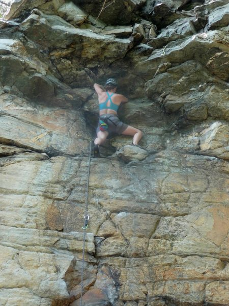 Rock Climbing Photo: Leading Herculean Test 5.11, Pilot Mountain.  Phot...
