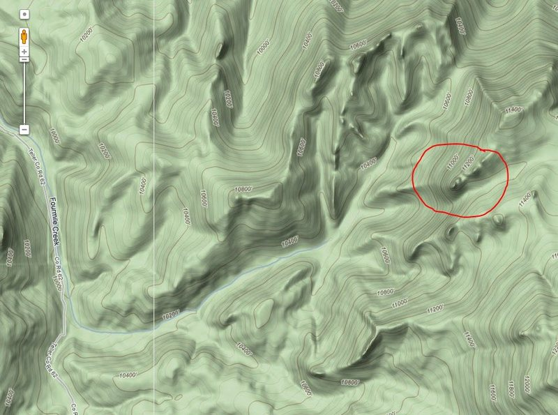 I didn't take coordinates, but this is my take on it location. Note that the summit is above 11,200', & the climb is at least 400 feet according to contour lines.