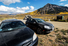 Rock Climbing Photo: Parking Lot at the end of Elk Ave. The big boulder...