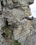 Rock Climbing Photo: A view of High E from the Jim's Gem ledge. The two...