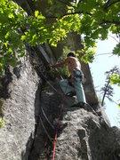 Rock Climbing Photo: Jon leaving the belay ledge on the FA