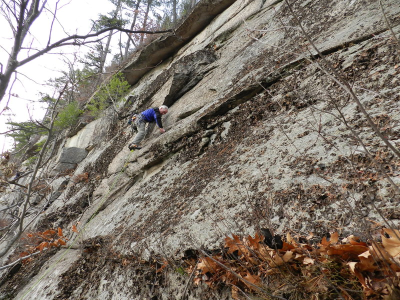 Rock Climbing Photo: Bob Ahern going for the FA after a quick scrub