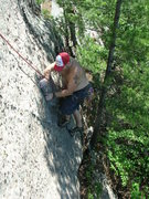 Rock Climbing Photo: Joshua Corbett committing to the dike moves.