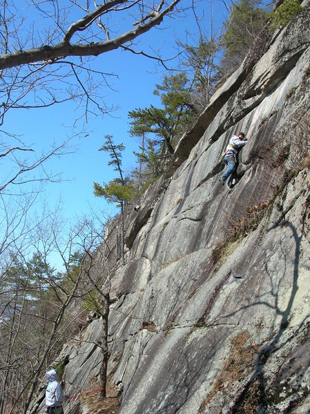 Jon on lead, Jim belaying on Winter Classic.