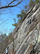 Rock Climbing Photo: Jon on lead, Jim belaying on Winter Classic.