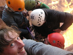 Rock Climbing Photo: Rappelling off Castleton Tower with little room.