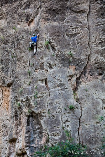 Rock Climbing Photo: Mkhitar on the second ascent of Rainy Day.