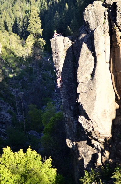 Rock Climbing Photo: Mike topping out, Lisa belaying. You can almost se...
