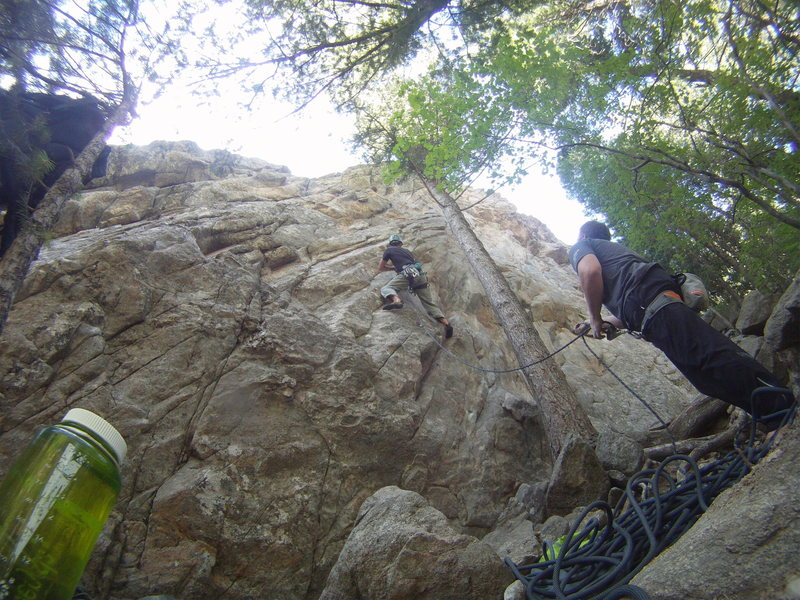 No doubt one of the better routes at Sherwood, crux is down low<br> (GoPro Sequence photo).