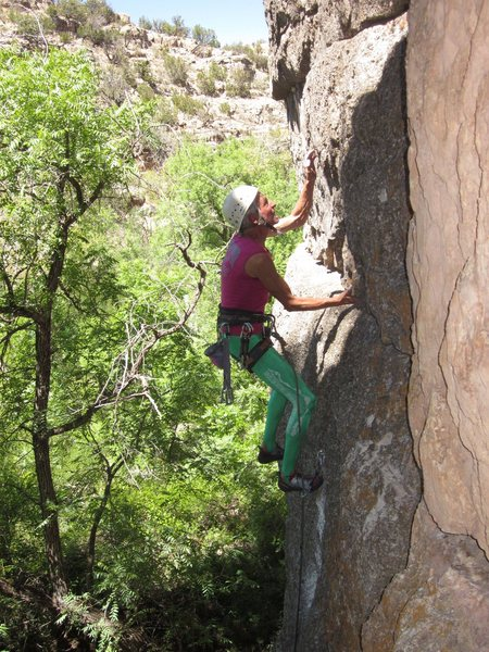 Peter at crux 1<br> photo - Brian Boyd