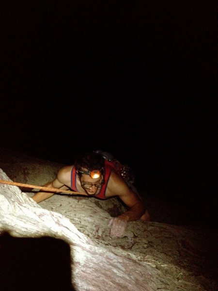 Rock Climbing Photo: Reinke cleaning up False Alarm Jam during a late n...