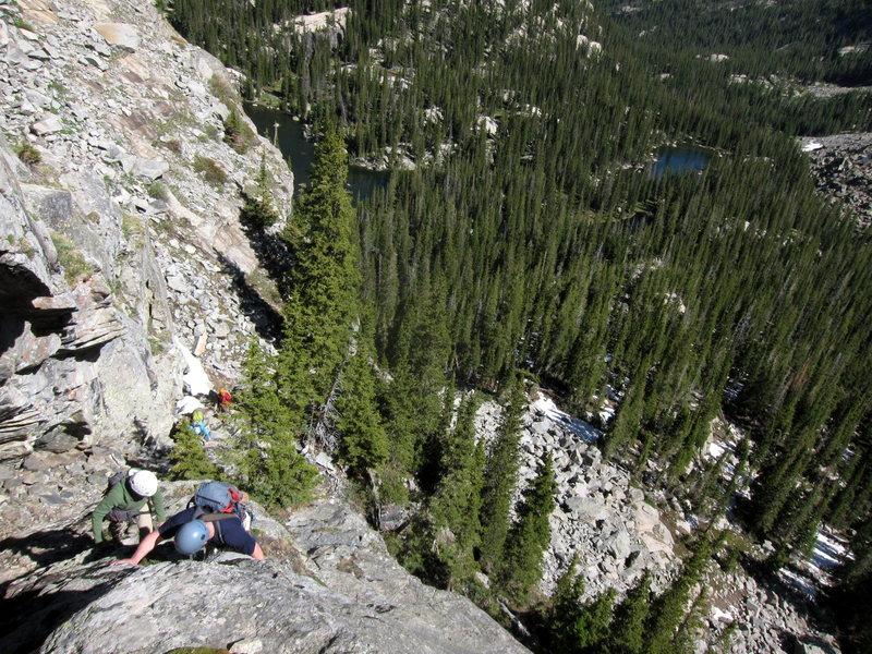 Rock Climbing Photo: Starting up the huge ramp. Pitch 2-5 scramblefest.