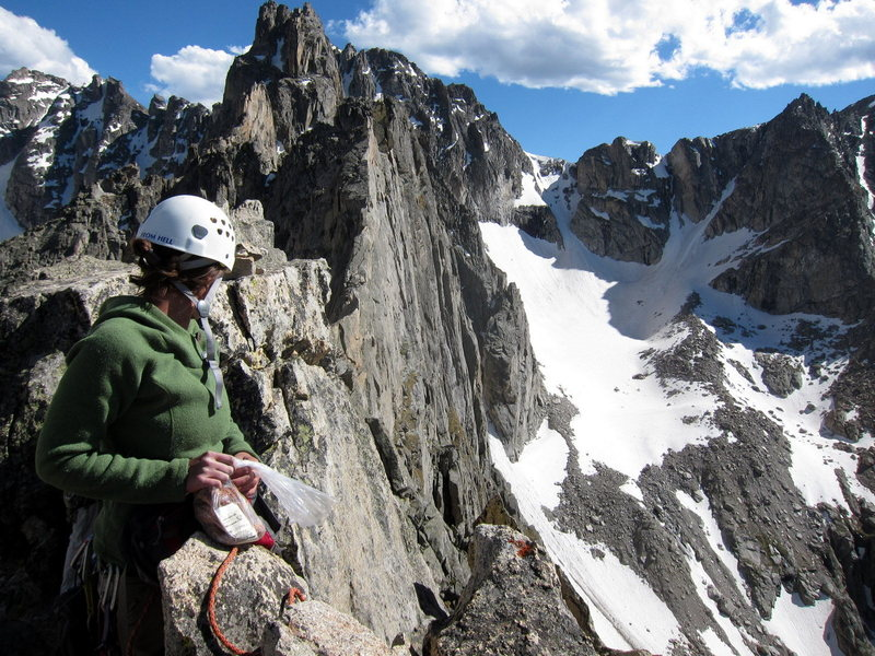 Rock Climbing Photo: Ridge line south from Lone Eagle Peak summit.