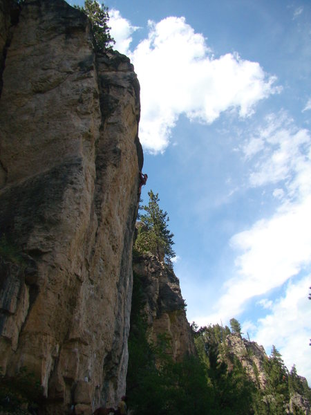 Alison seconds from her red point send of Richochet, 5.12c.<br> Spearfish Canyon. Mohican. Indian Wars Wall.
