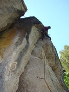 Rock Climbing Photo: Mark sets up to pull the roof on Holy Slit, 5.10d....