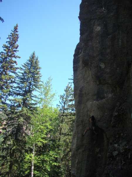 Rock Climbing Photo: Alison makes her way up the flake on Forbidden Fru...