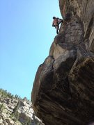 Rock Climbing Photo: Rufus Miller shaking out on the Kayak Trundle.