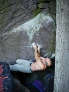 Rock Climbing Photo: Mike on his problem, Mixed Emotion.  Start holds a...
