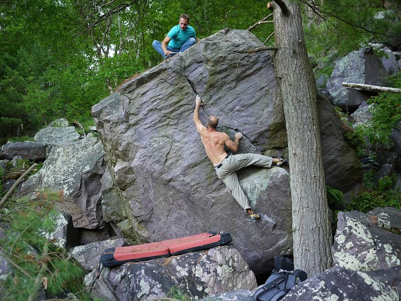 Rock Climbing Photo: Mike Lohre halfway up this great problem, while Ma...