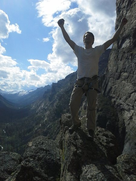 Triumphant top-out photo on No Sweat Arete