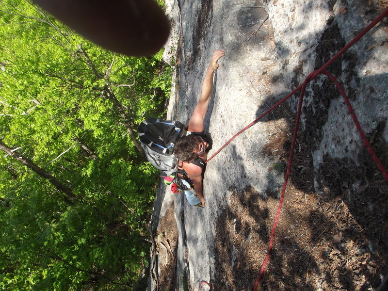 Jon on the crux move.