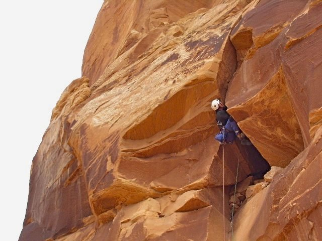 Moving up the 3rd pitch, Langdon Route. Photo by Paul Horton.