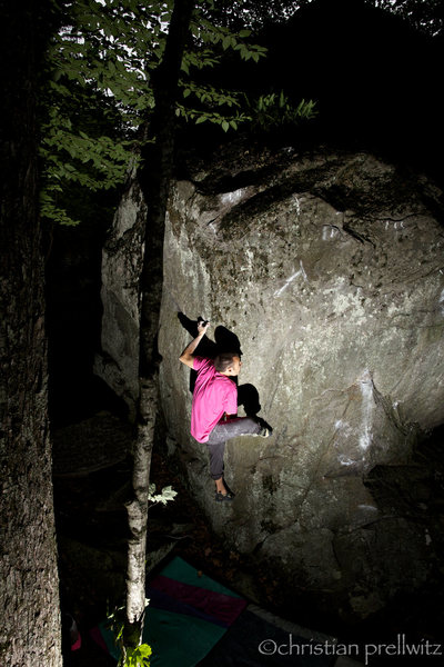 Moving through the foot/hand match on 'Up Into The Green Silence'- Rumney, NH.