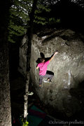 Rock Climbing Photo: Sticking the crux move of 'Up Into The Green Silen...