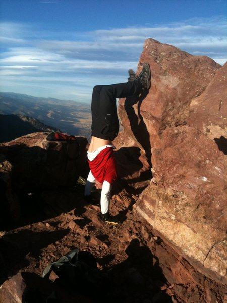 a few Handstand push ups on South Boulder Peak