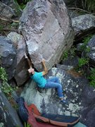 Rock Climbing Photo: Matt on the first campus move.